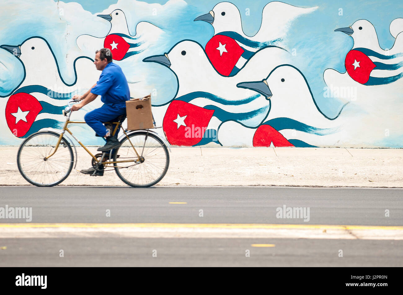 HAVANA - JUNE, 2011: A Cuban man on bicycle passes a colorful mural of propaganda featuring doves of peace emblazoned - Stock Image