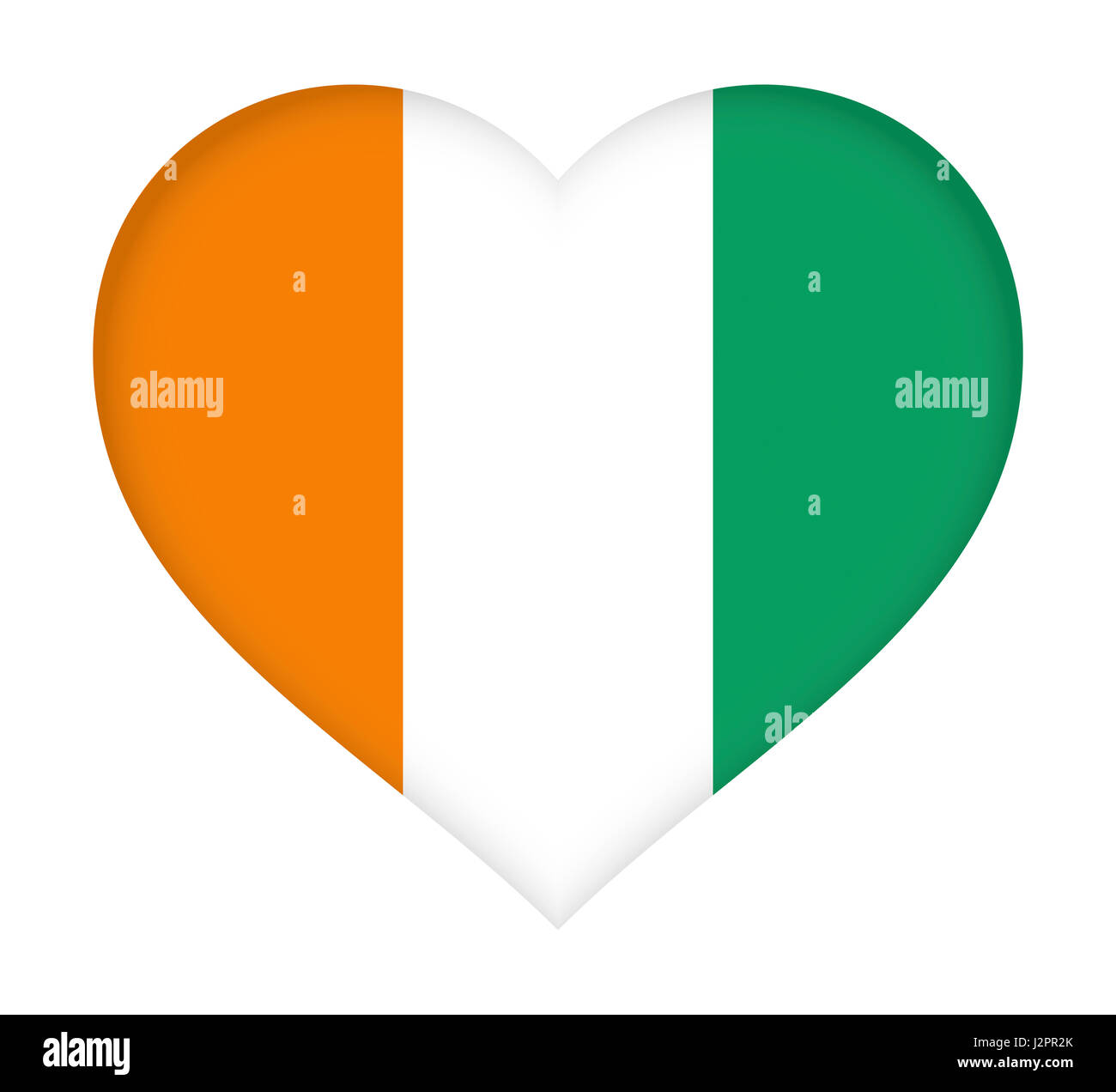 Illustration of the flag of Cote d'Ivoire shaped like a heart. - Stock Image