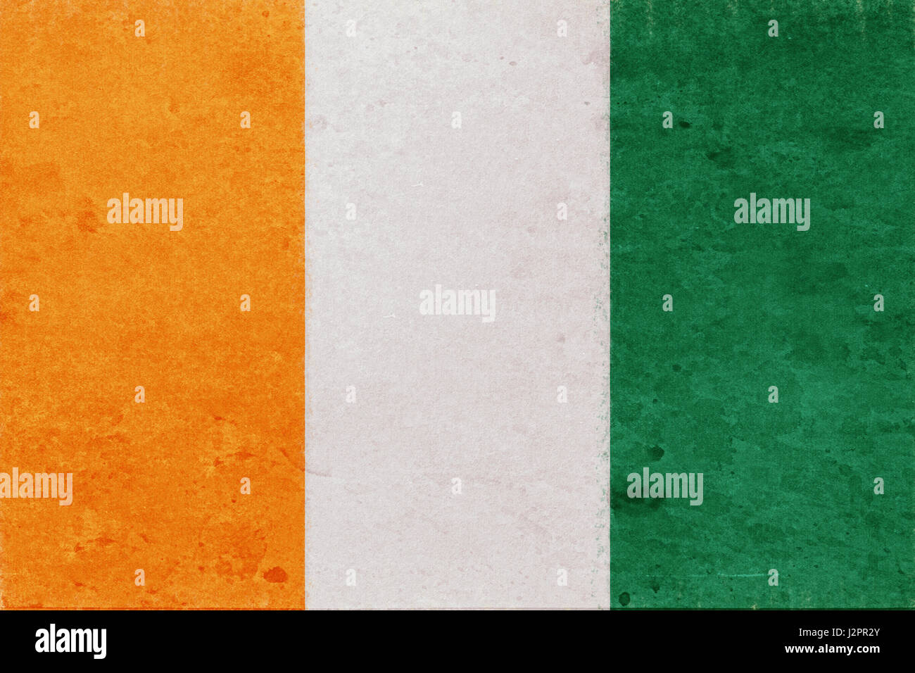 Illustration of the national flag of Cote d'Ivoire with a grunge look - Stock Image