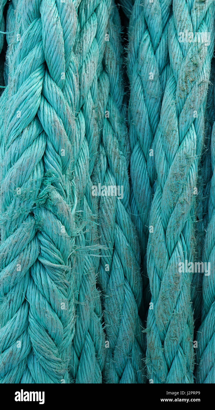 close-up thick green rope worn on the ship at Sunny summer day, vertical orientation - Stock Image
