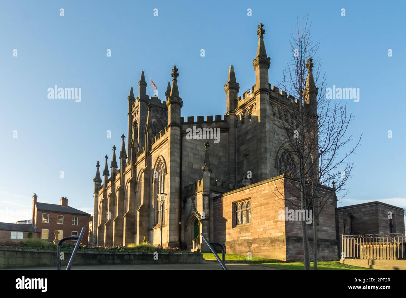 St Mary's parish church Oldham on a sunny afternoon, looking north - Stock Image