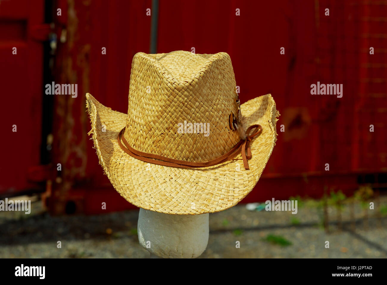 Open market stall with summer hats for men on sale. Photo in vintage style. c71e8a630d6