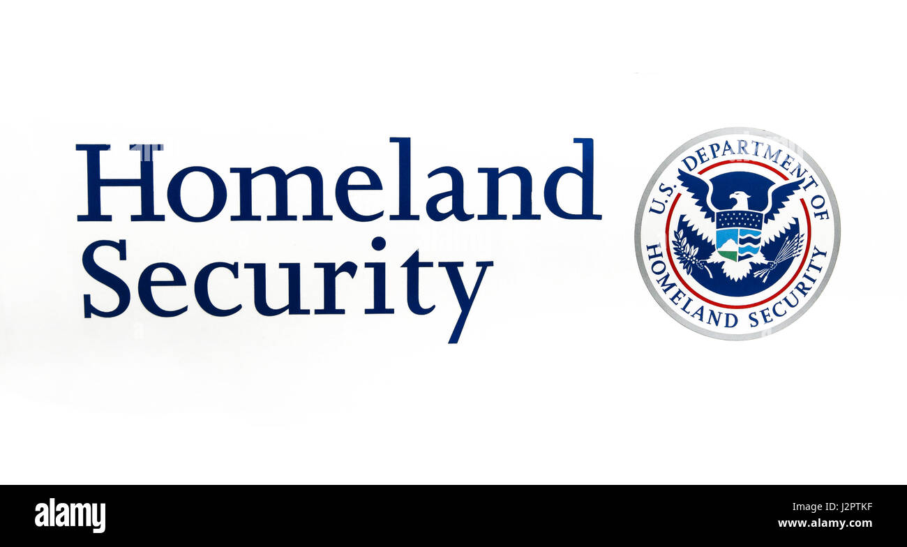 US Department of Homeland Security seal and caption on white background. - Stock Image