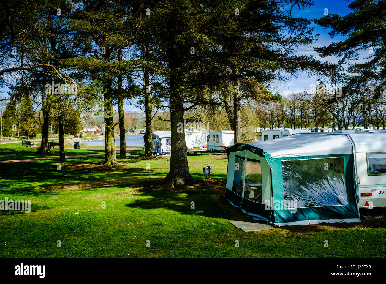 Biggar Caravan Park and Boating Pond - Stock Image
