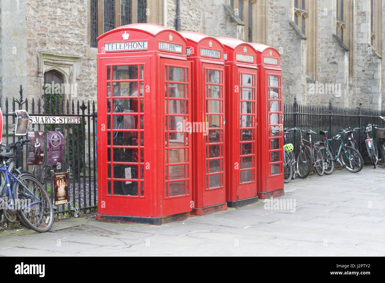 Telephone Boxes, Market Square, Cambridge, UK - Stock Image