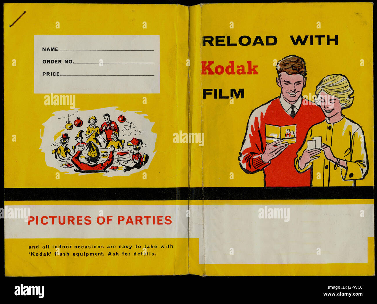 A 1960s Kodak film wallet, in company colours of yellow and red