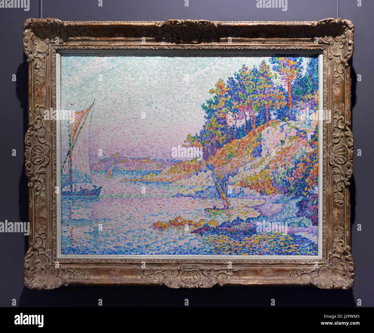 Painting 'The Calanque' ('The Bay') by French Neo-Impressionist painter Paul Signac (1906) on display in the Royal Stock Photo