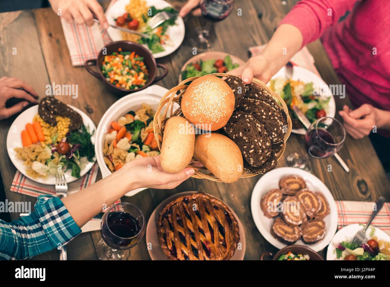 Nice family having tasty dinner - Stock Image