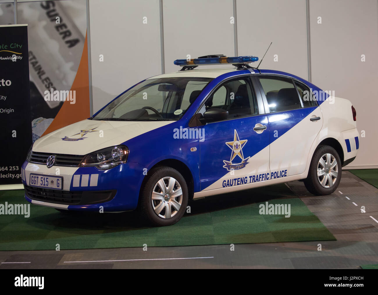 JOHANNESBURG, SOUTH AFRICA - APRIL 2017 Gauteng Traffic Police vehicle on display - Stock Image