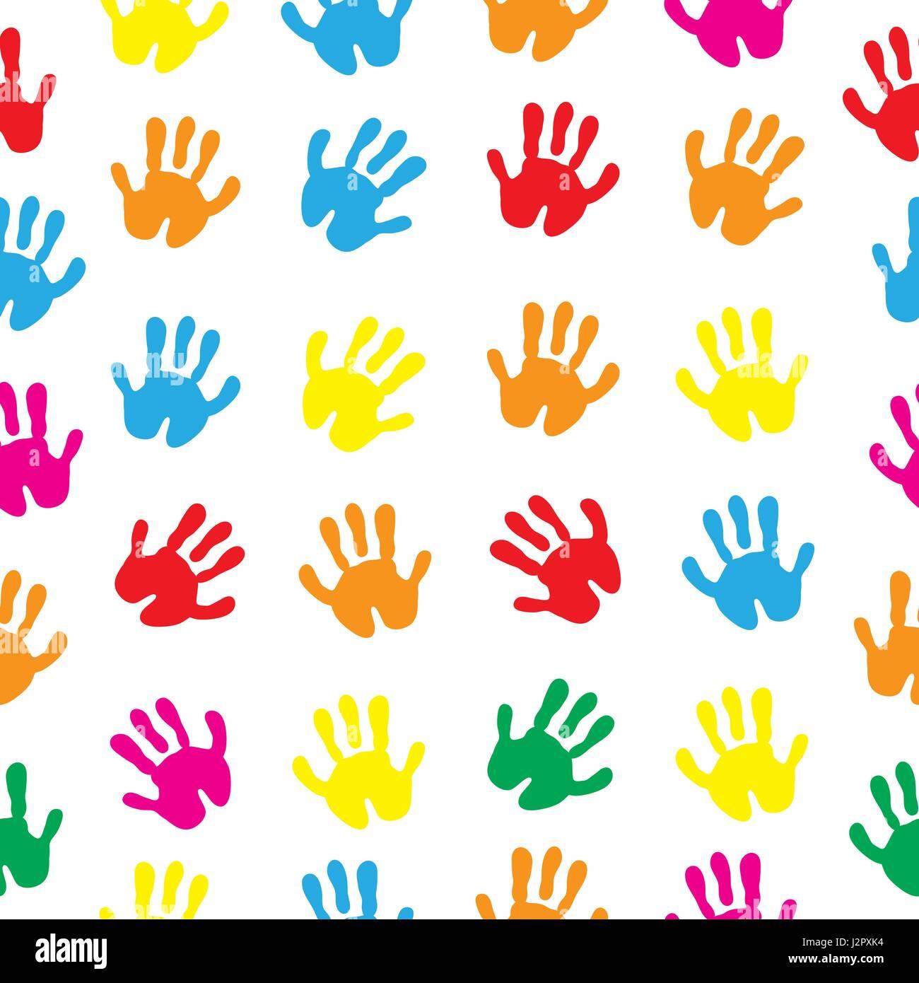 Children s hands, hand prints seamless texture. Children s palms background wallpaper. Vector illustration. - Stock Vector