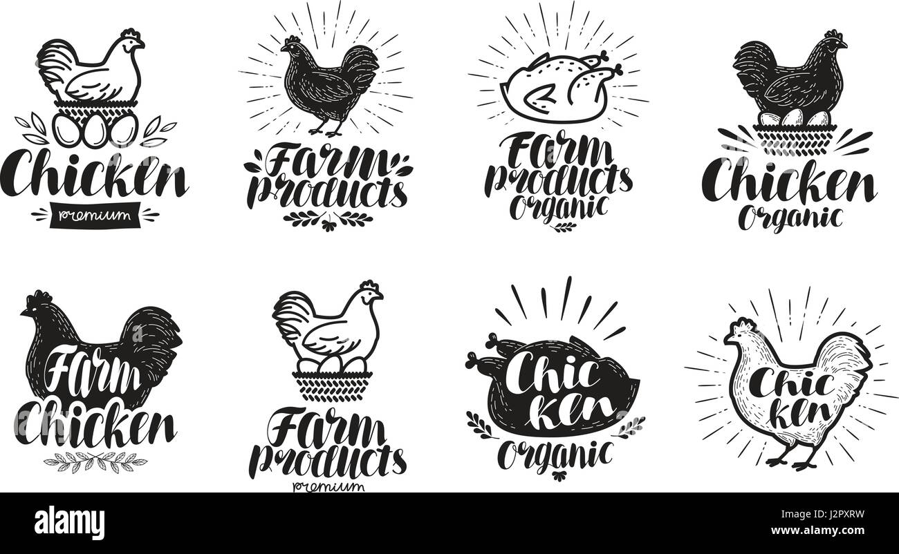 Chicken label set. Food, poultry farm, meat, egg icon or logo. Lettering vector illustration - Stock Vector