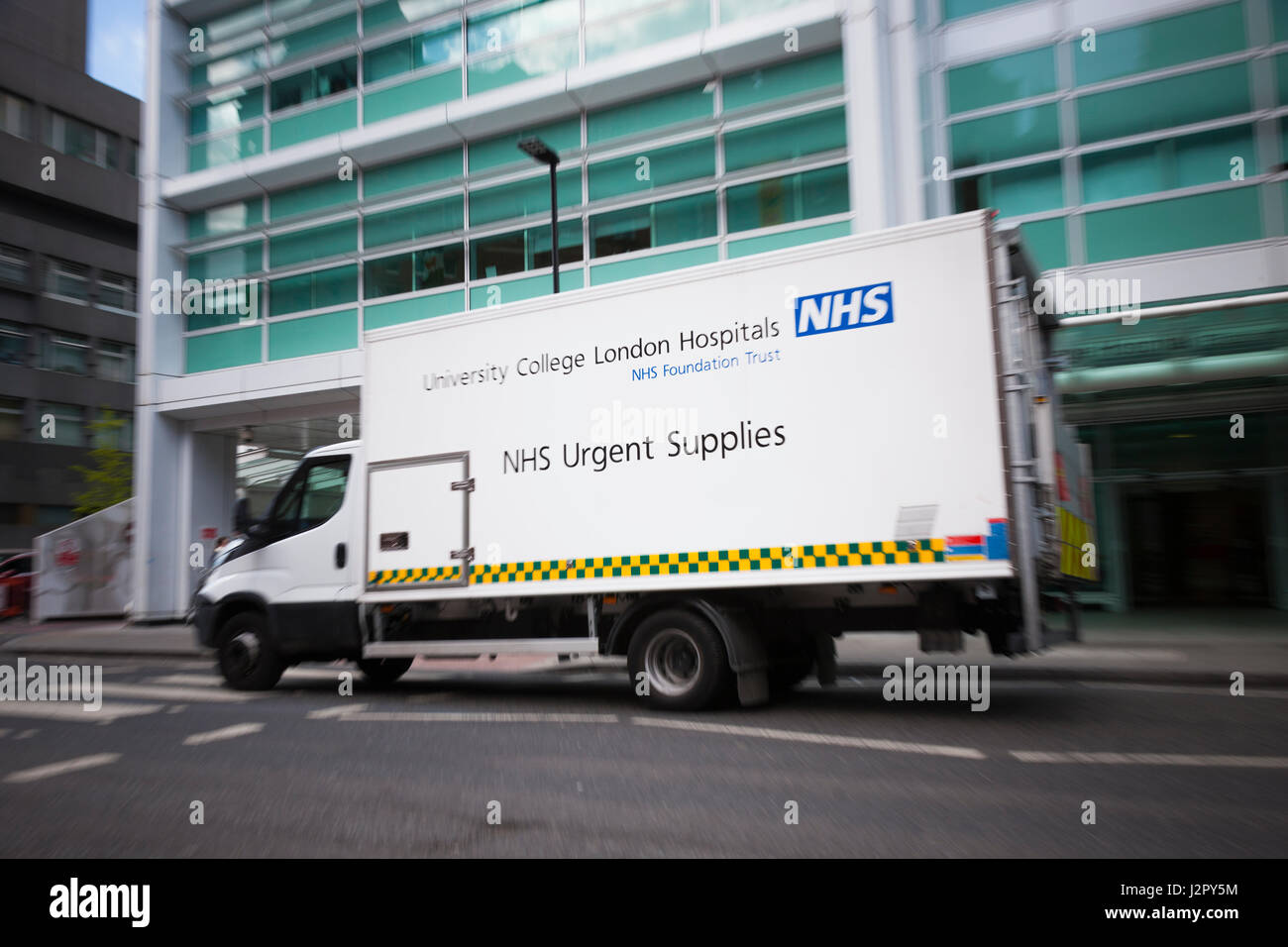 Truck / van / Lorry /carrying urgent medical supplies for the NHS to University College Hospital in London. UK - Stock Image
