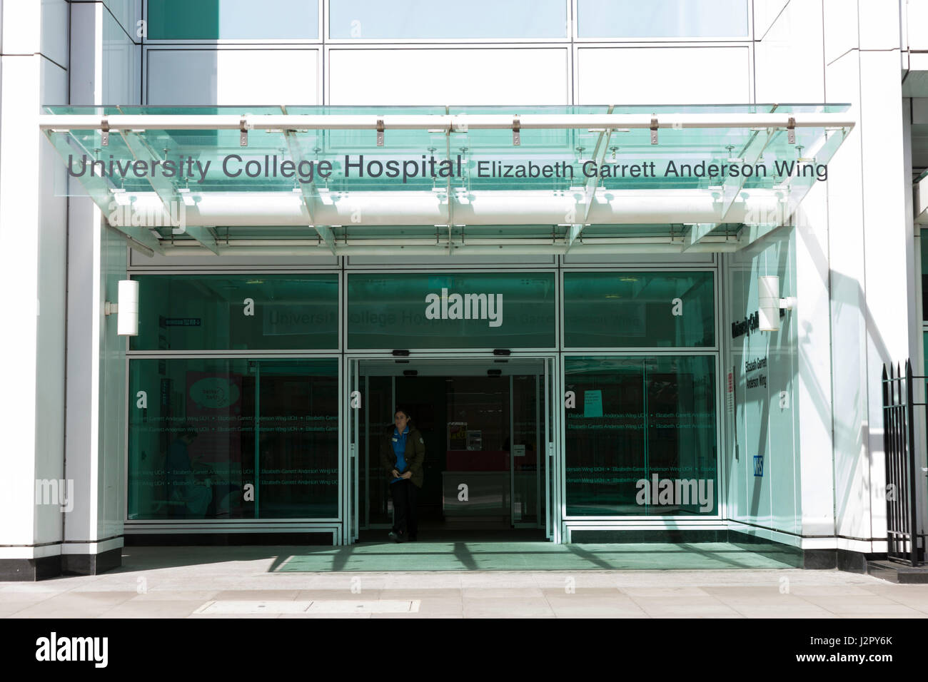 The front exterior and entrance of University College Hospital London; the Elizabeth Garrett Anderson wing. Sunny - Stock Image