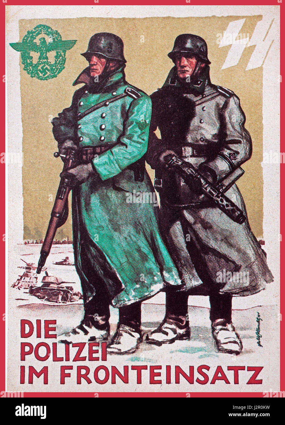 World War 2 Official Nazi Germany Propaganda postcard captioned 'The Police in Frontline Duty' on the eastern - Stock Image