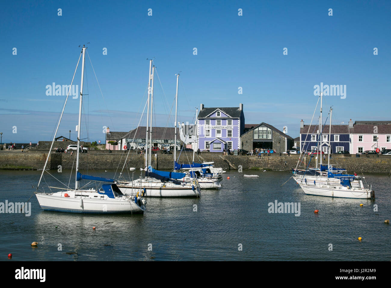 Aberaeron - a charming Georgian port town on the Cardigan Bay coast of West Wales, Sailing Boats and Fishing Boats - Stock Image
