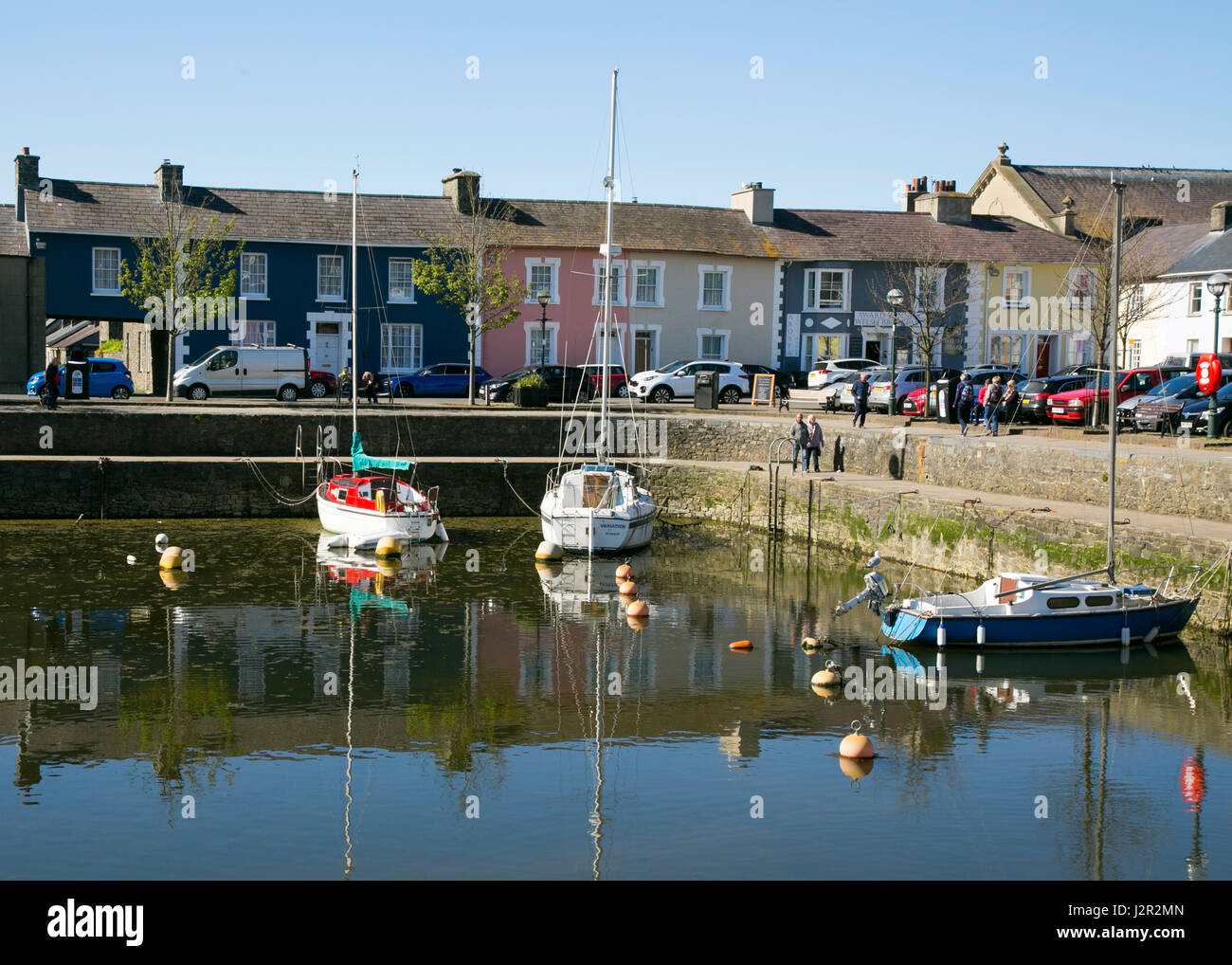 Aberaeron - a charming Georgian port town on the Cardigan Bay coast of West Wales, Sailing Boats and Fishing Boats Stock Photo