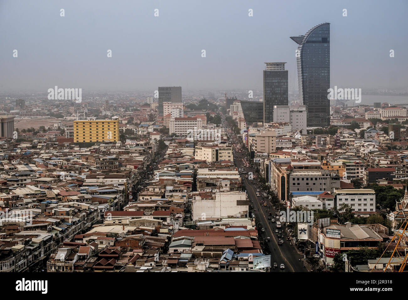 Phnom Penh city centre and skyline - Cambodia's capital city - Stock Image