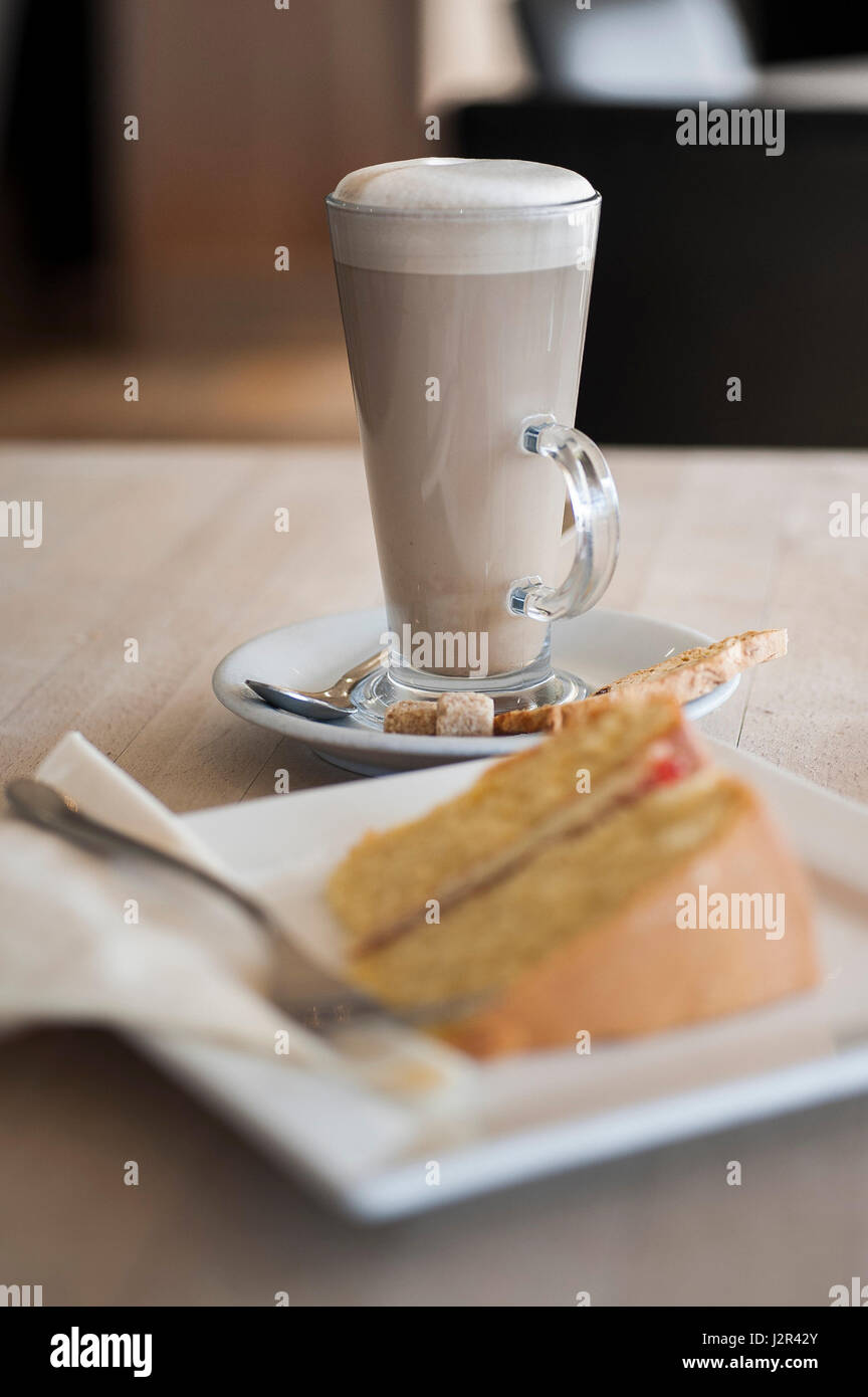 Food Coffee and cake Victoria Sponge Cake Sweet Treat Afternoon treat Indulgence Dessert Baked Pudding Baking Fork - Stock Image