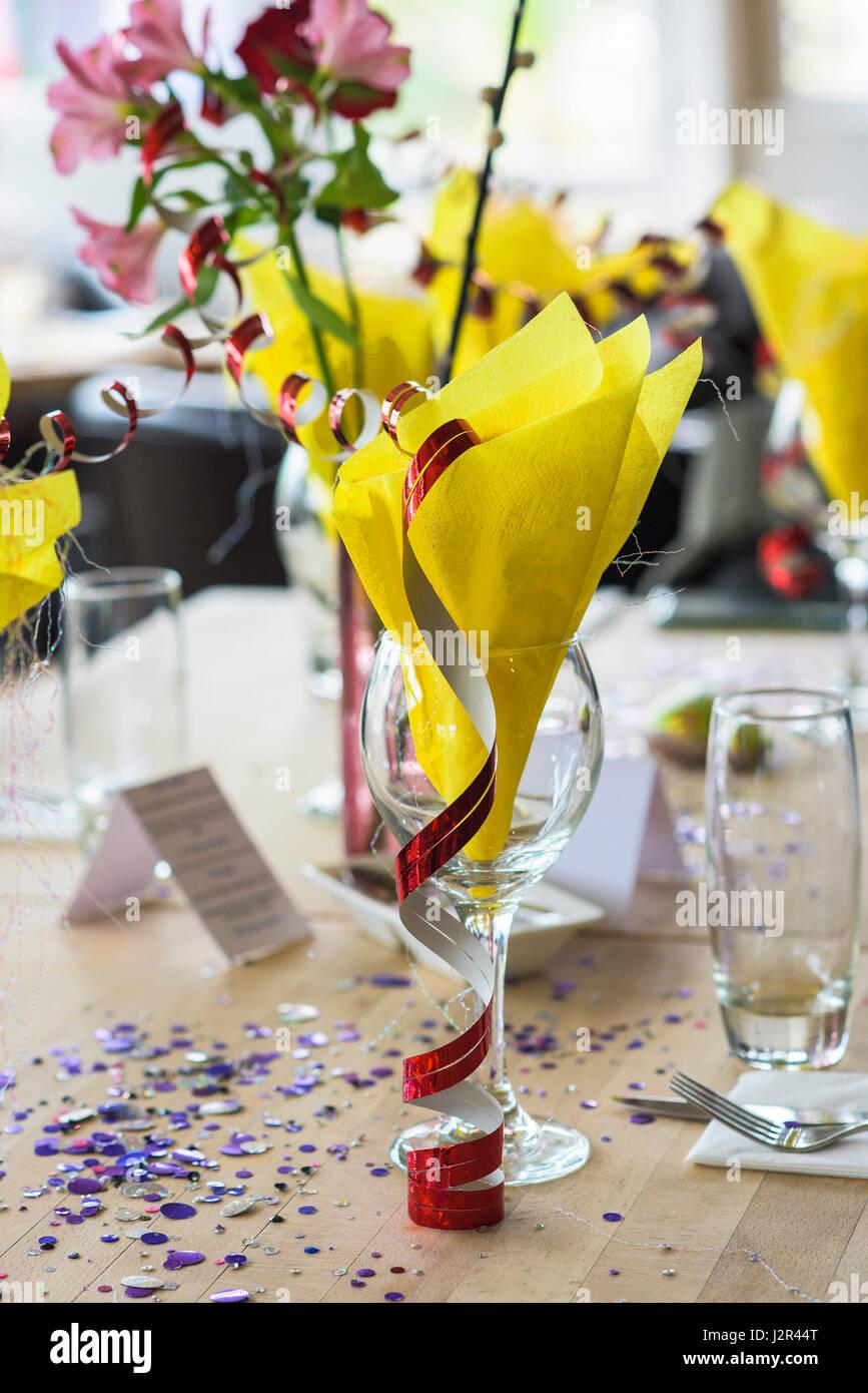Table decorations Celebration Celebrations Restaurant interior Decorative Colourful Colorful Dining - Stock Image