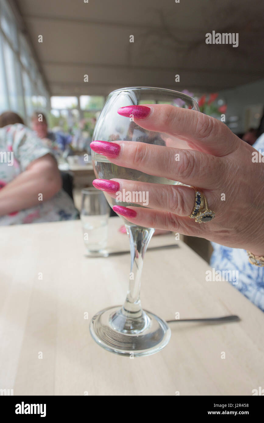 Woman holding a wine glass Painted finger nails Manicured Drinking Hand - Stock Image