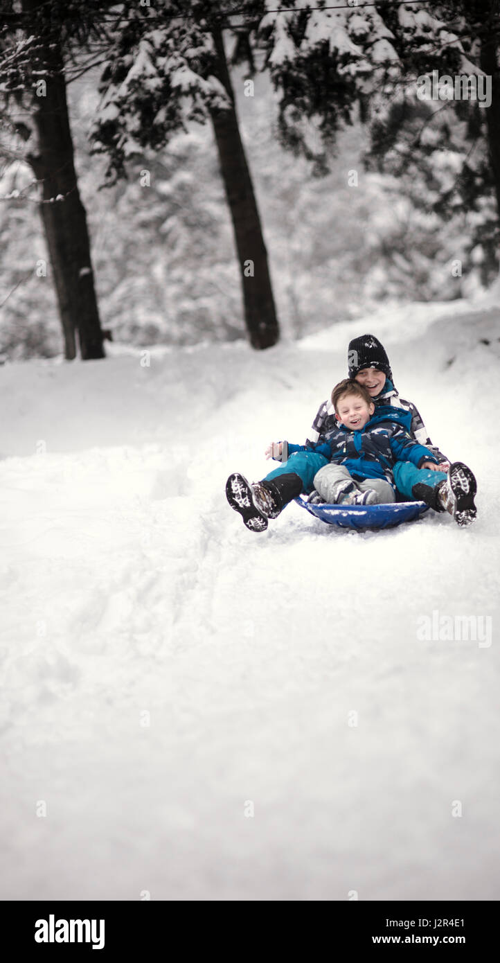 Two brothers having fun in winter with a sledge - Stock Image