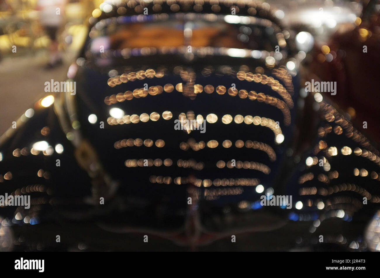 Beautiful Background Of Bokeh Lights At Night On Vintage Car Stock Photo Alamy