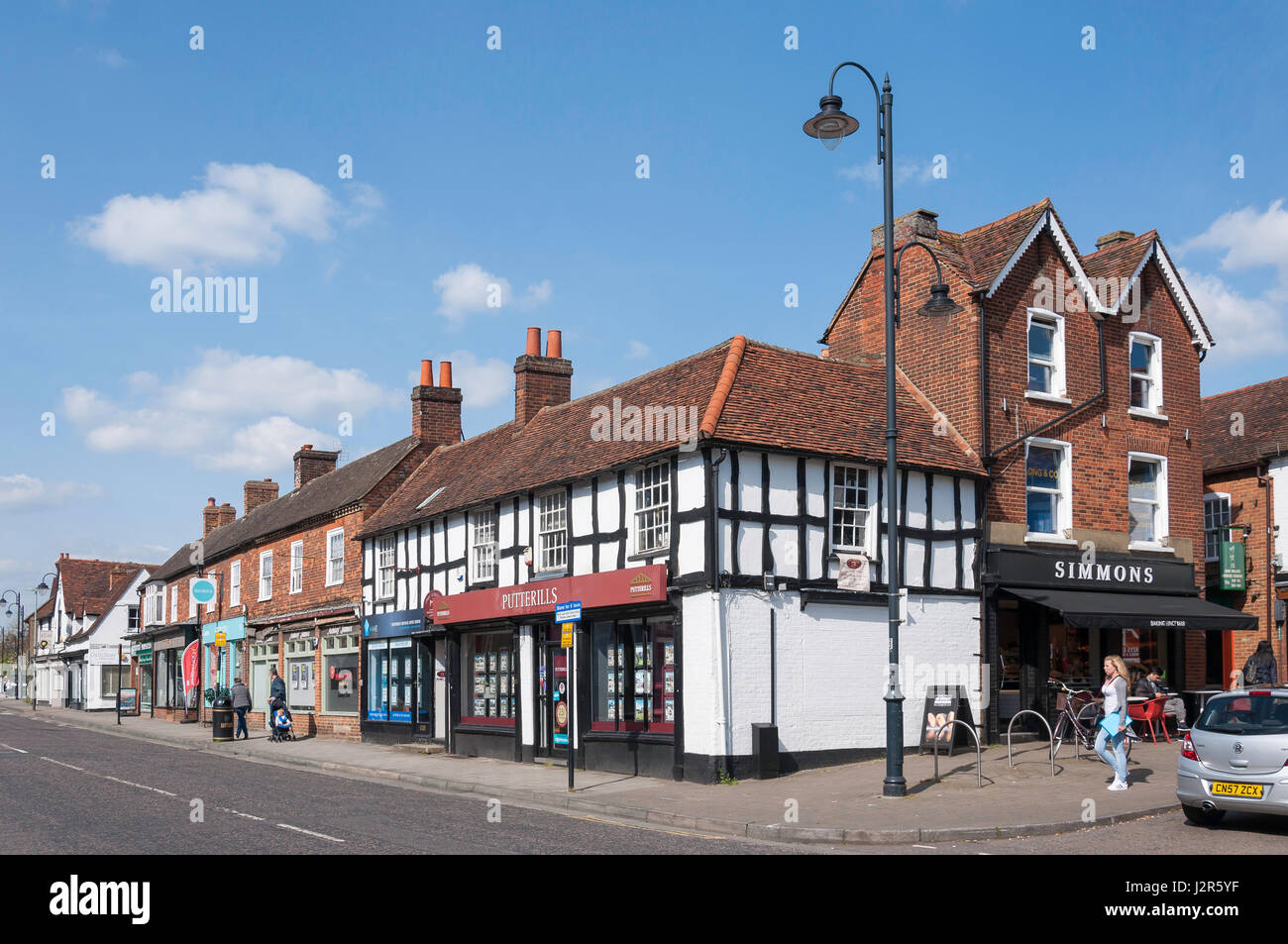 High Street, Old Town, Stevenage, Hertfordshire, England, United Kingdom - Stock Image