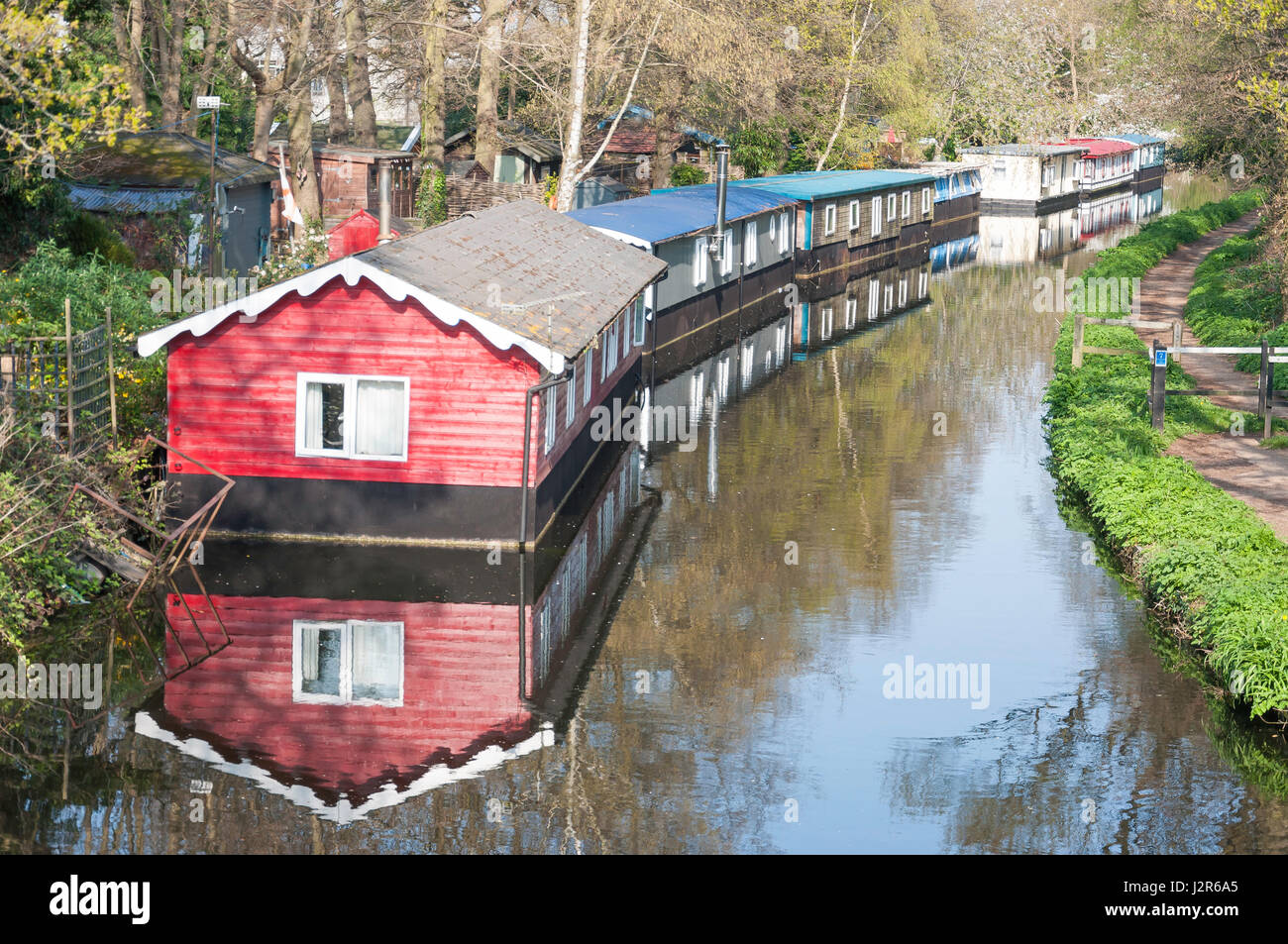 Houseboats on Basingstoke Canal, West Byfleet, Surrey, England, United Kingdom - Stock Image
