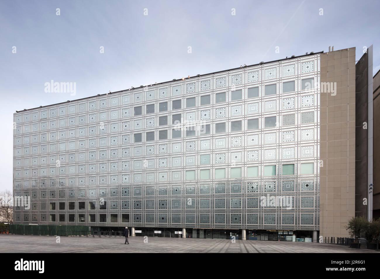 Facade, Institut du monde arabe, Paris, France - Stock Image