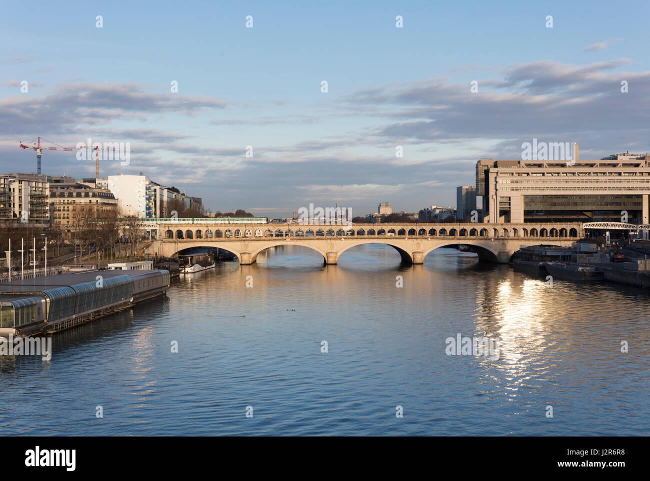 Pont de Bercy, Bercy Bridge and Seine River, Paris, France - Stock Image