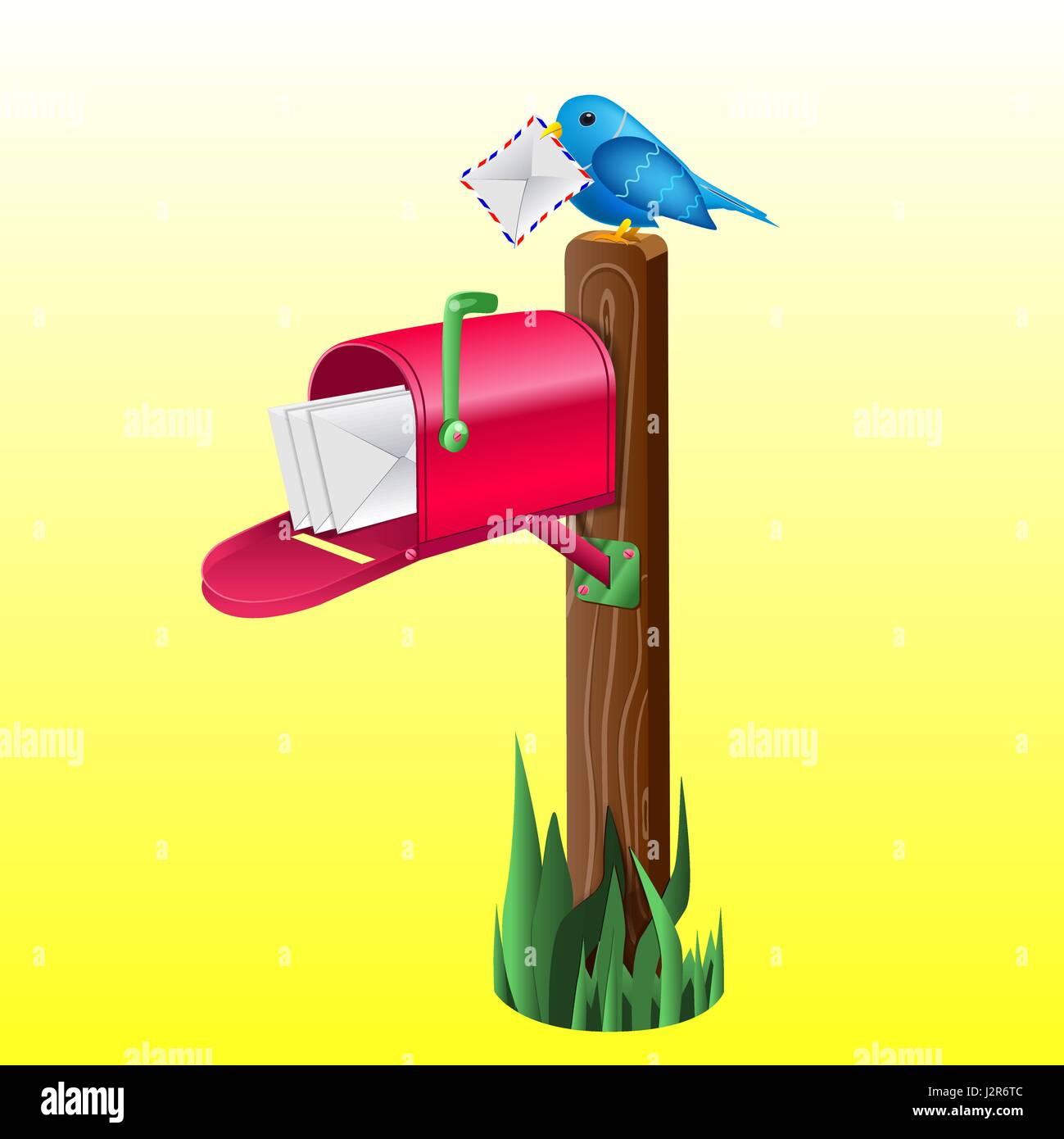 Outdoor red mailbox full of letters - Stock Image