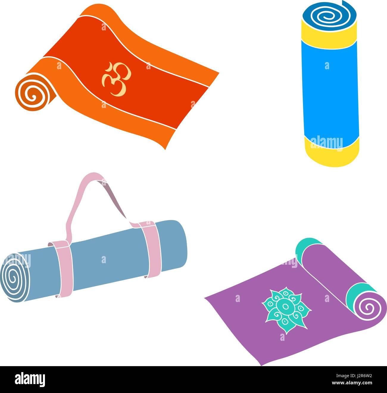 Cartoon yoga or fitness mats and sacks - Stock Vector
