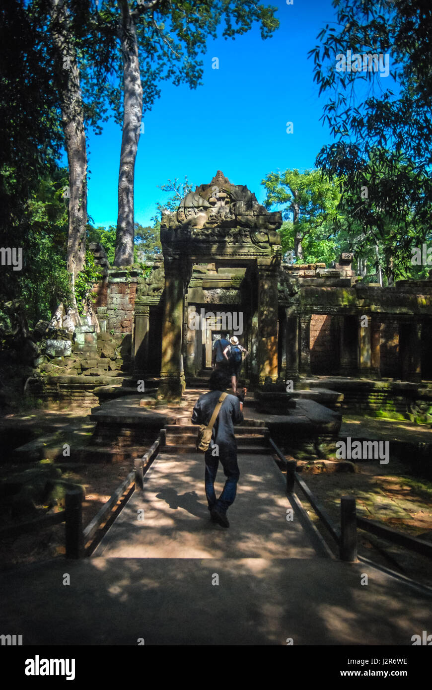 Visitors in front of Ta Prohm Temple in Angkor Complex, Siem Reap, Cambodia. © Anastasia Ika - Stock Image
