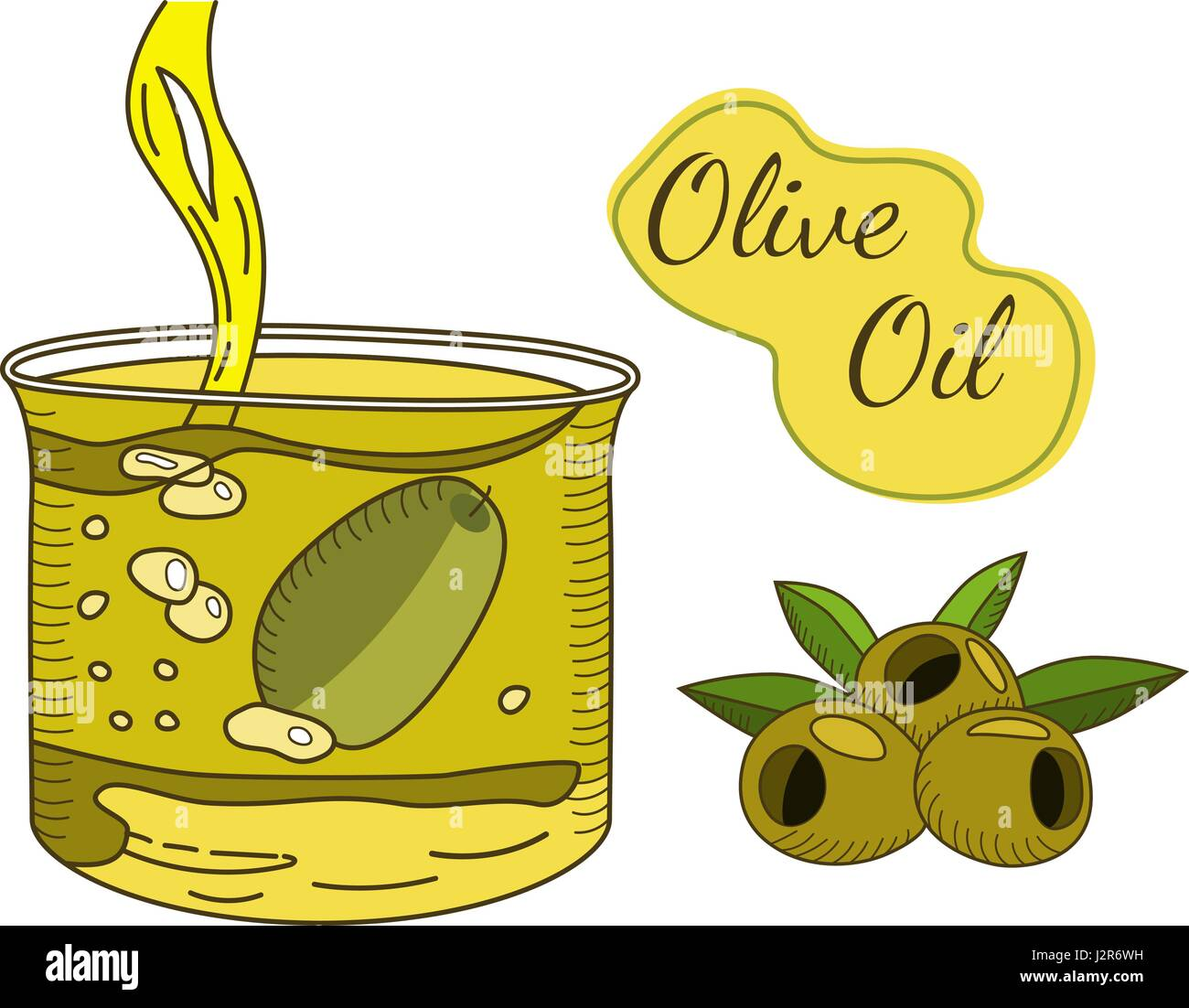Olive oil flowing in the glass hand drawn - Stock Vector