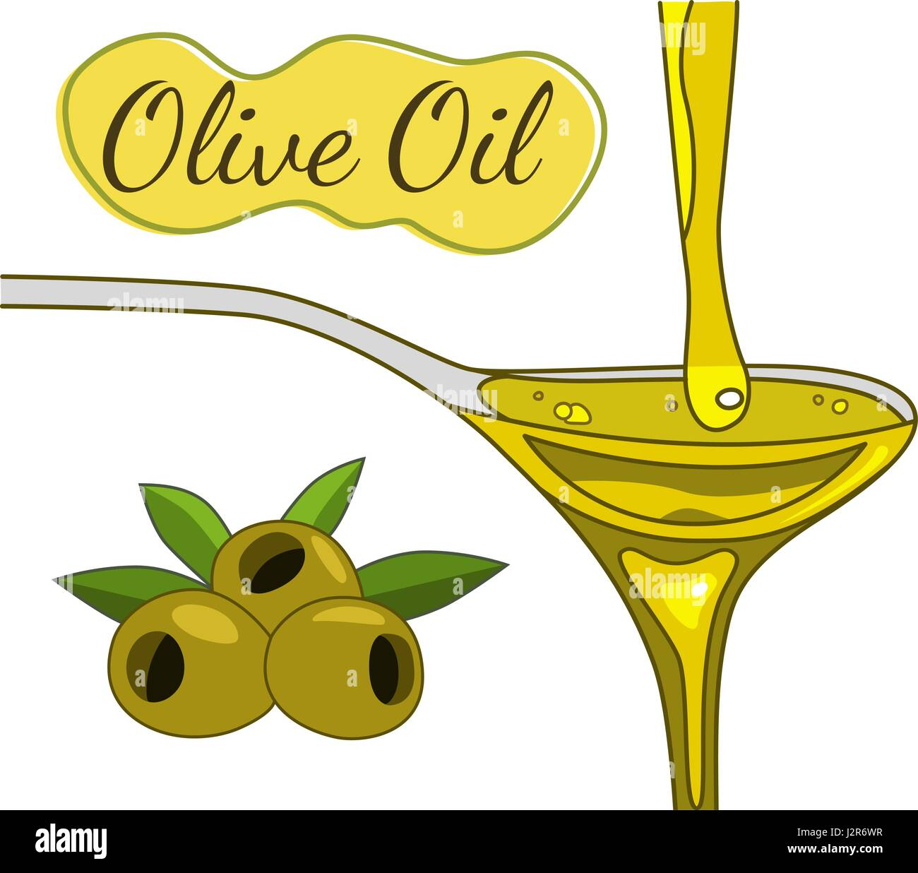 Olive oil flowing in the spoon hand drawn - Stock Vector