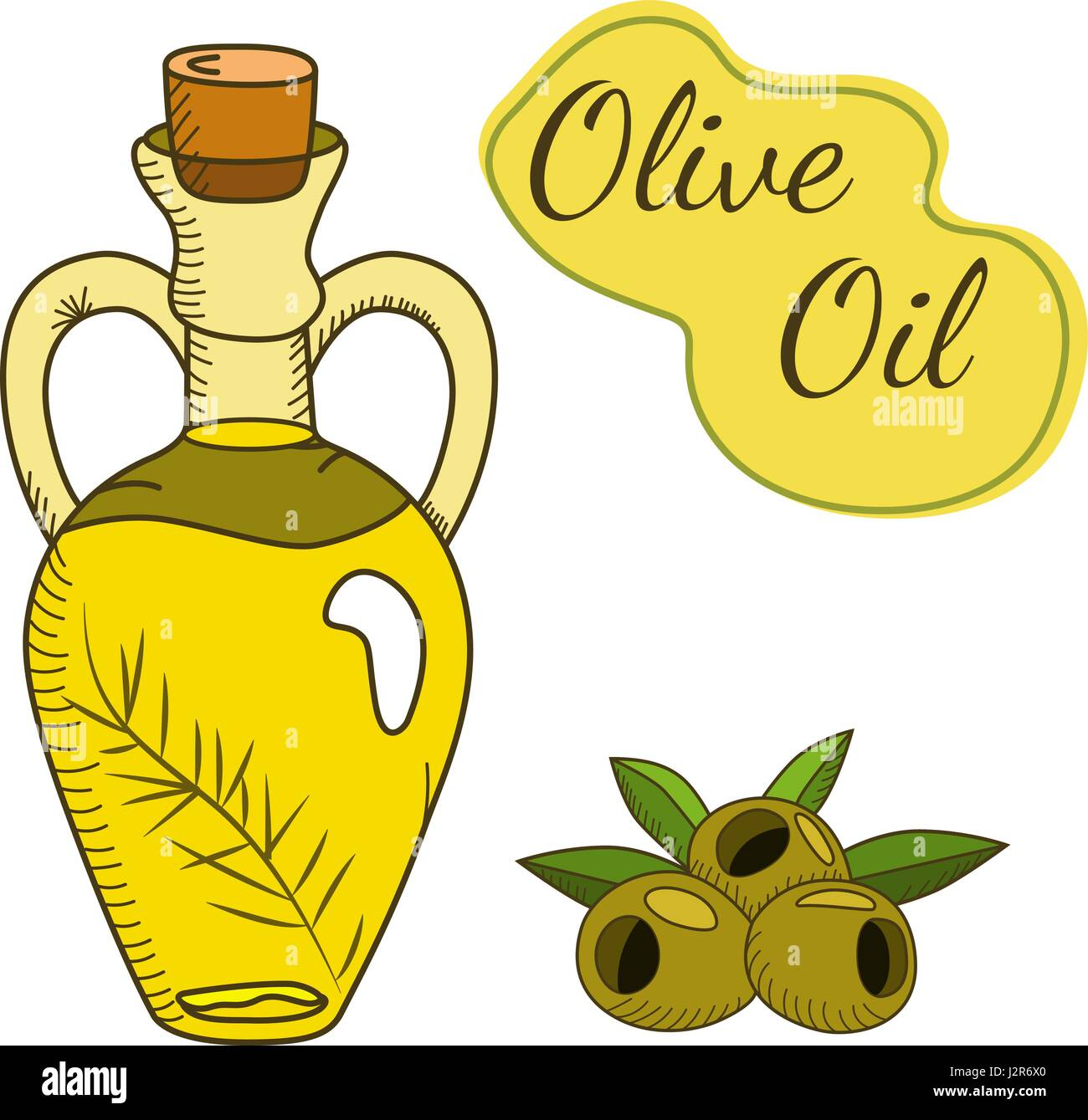 Olive oil in the bottle with a branch and berries - Stock Vector