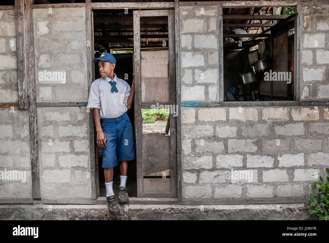 Portrait of a junior high school student in Yenbekwan village, Raja Ampat Islands, West Papua, Indonesia. © - Stock Image