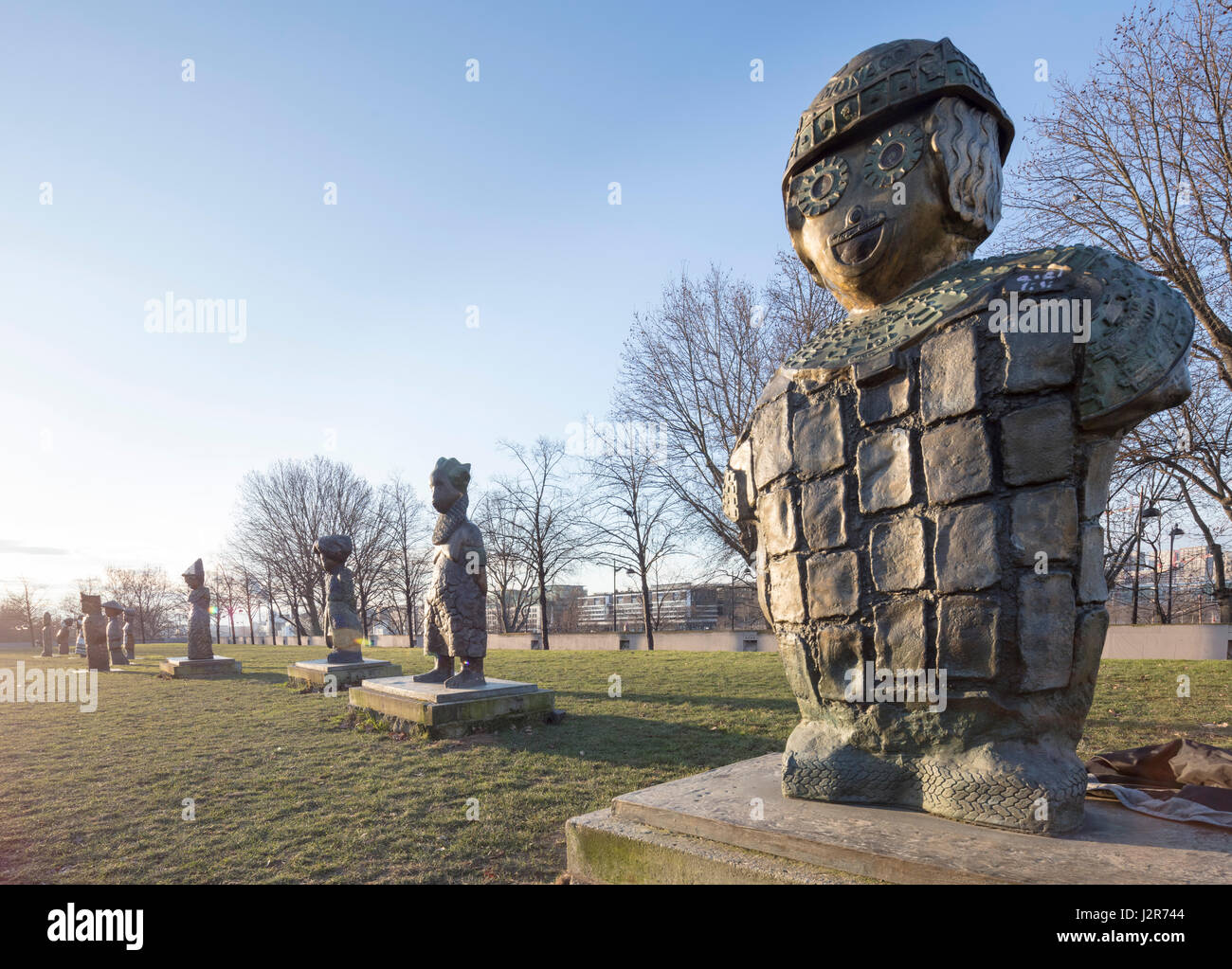 French sculptor Rachid Khimoune's Children of the World, 21 sculptures in honor of children's rights, Parc - Stock Image