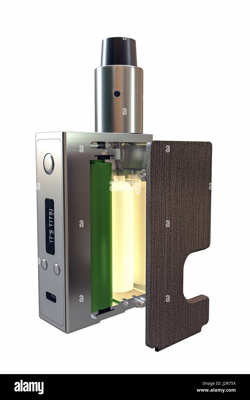 3d illustration of an e-cig box isolated on white background - Stock Image