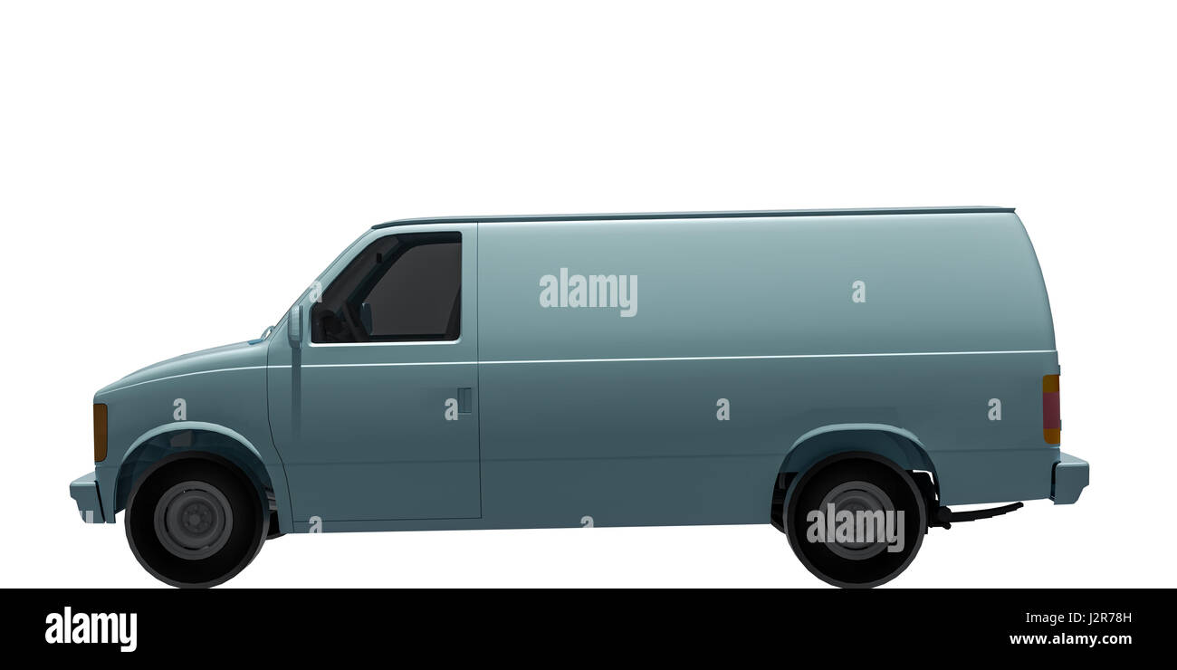 3d illustration of a van isolated on white background - Stock Image
