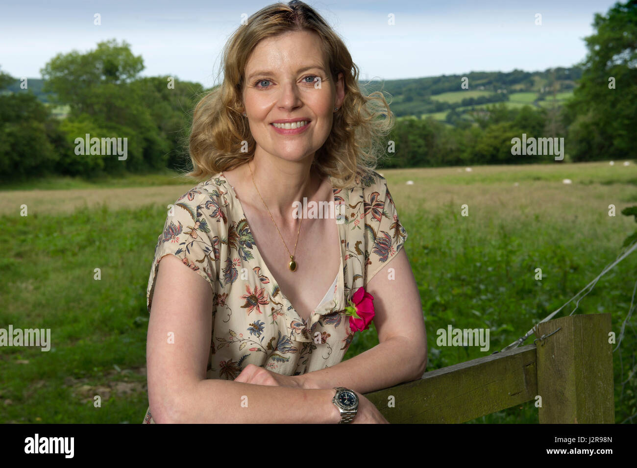 Lucy Akhurst at her home, Oxenpark Farm, Hemyock, Devonshire, UK - Stock Image