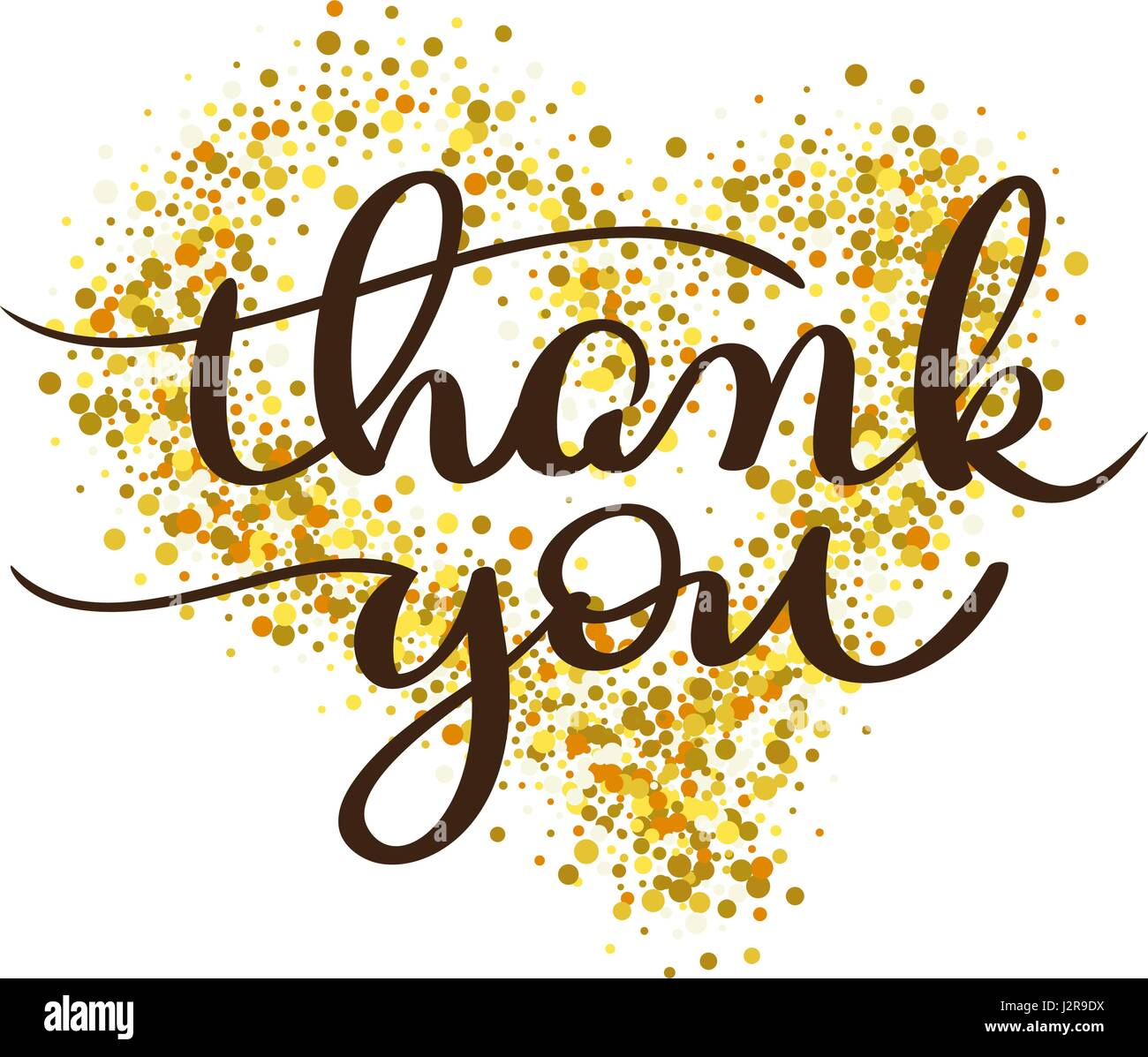 thank you text on gold background in form of heart vintage hand
