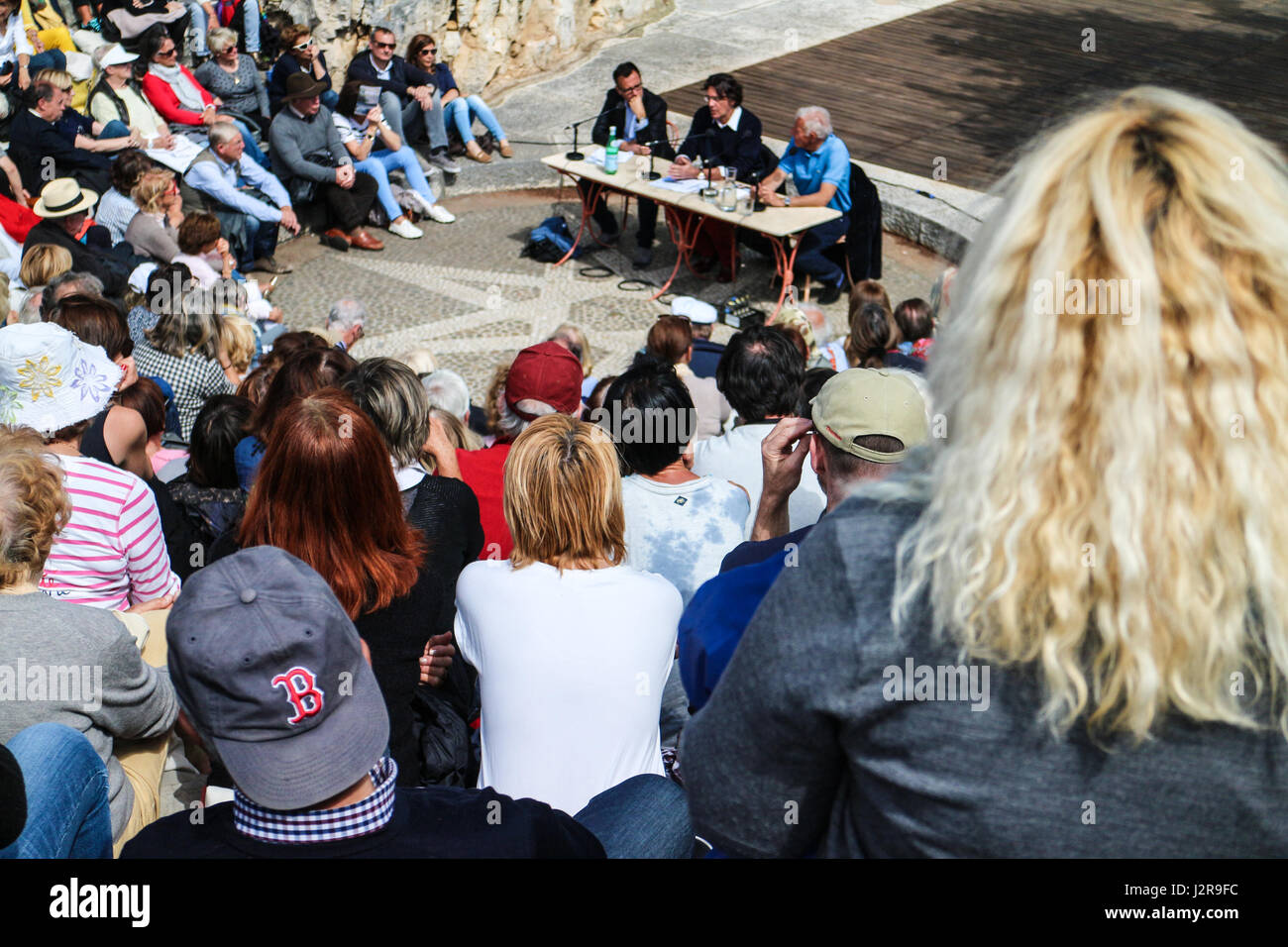 Printemps du livre,Cassis 1st May 2017 : Luc Ferry speaking Stock Photo