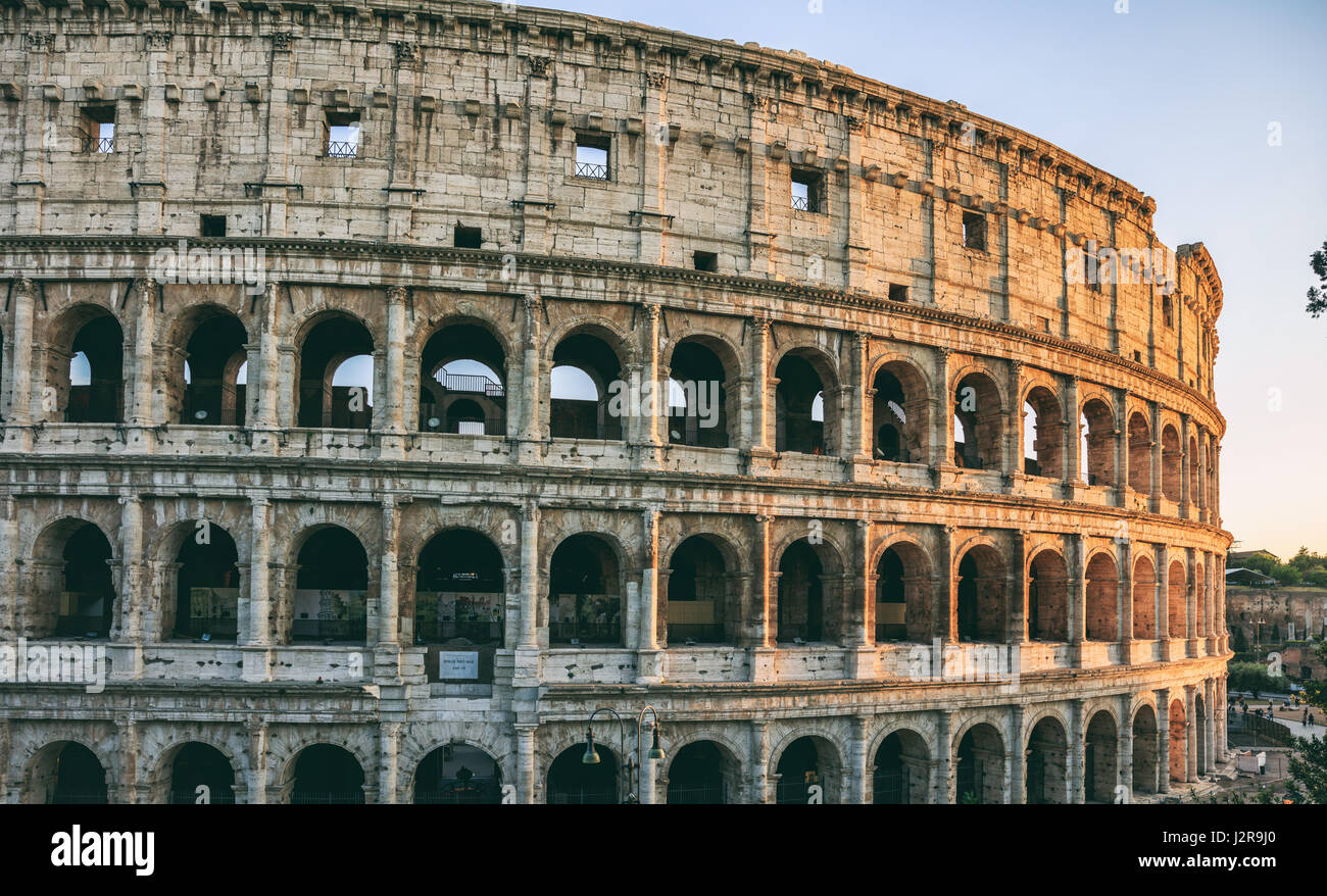 Rome, Italy - Colosseum view at evening - Stock Image