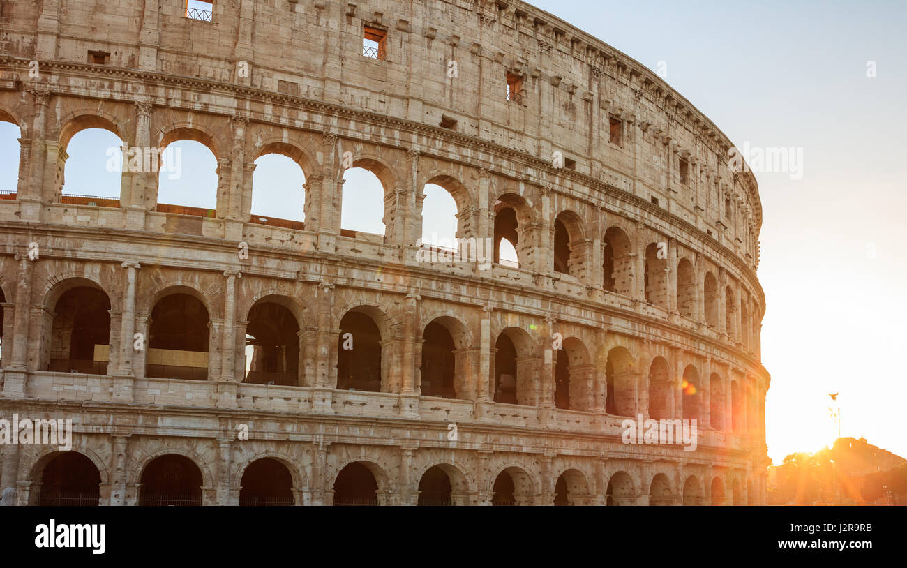 Rome, Italy - Amphitheater Colosseum view at sunset - Stock Image