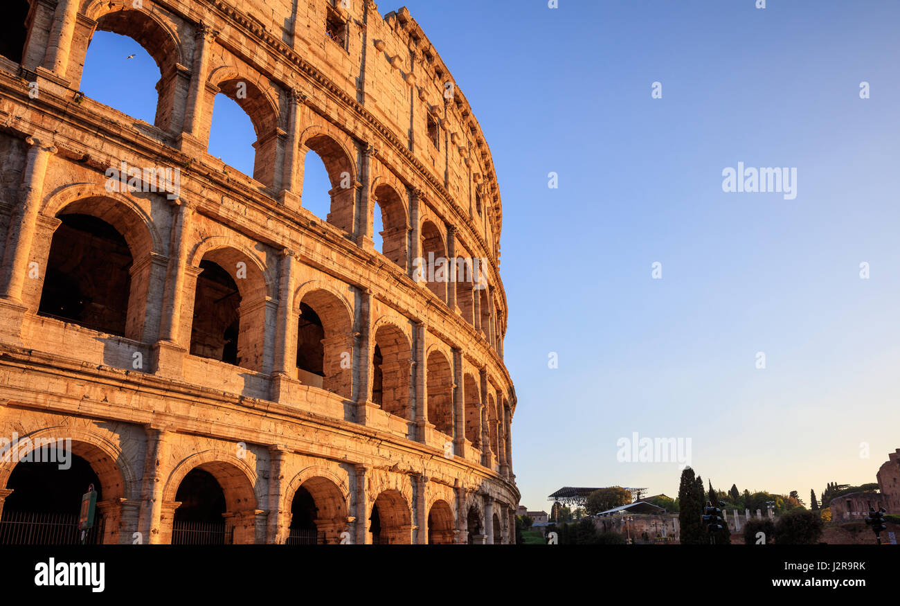 Rome, Italy - Amphitheater Colosseum view at evening - Stock Image