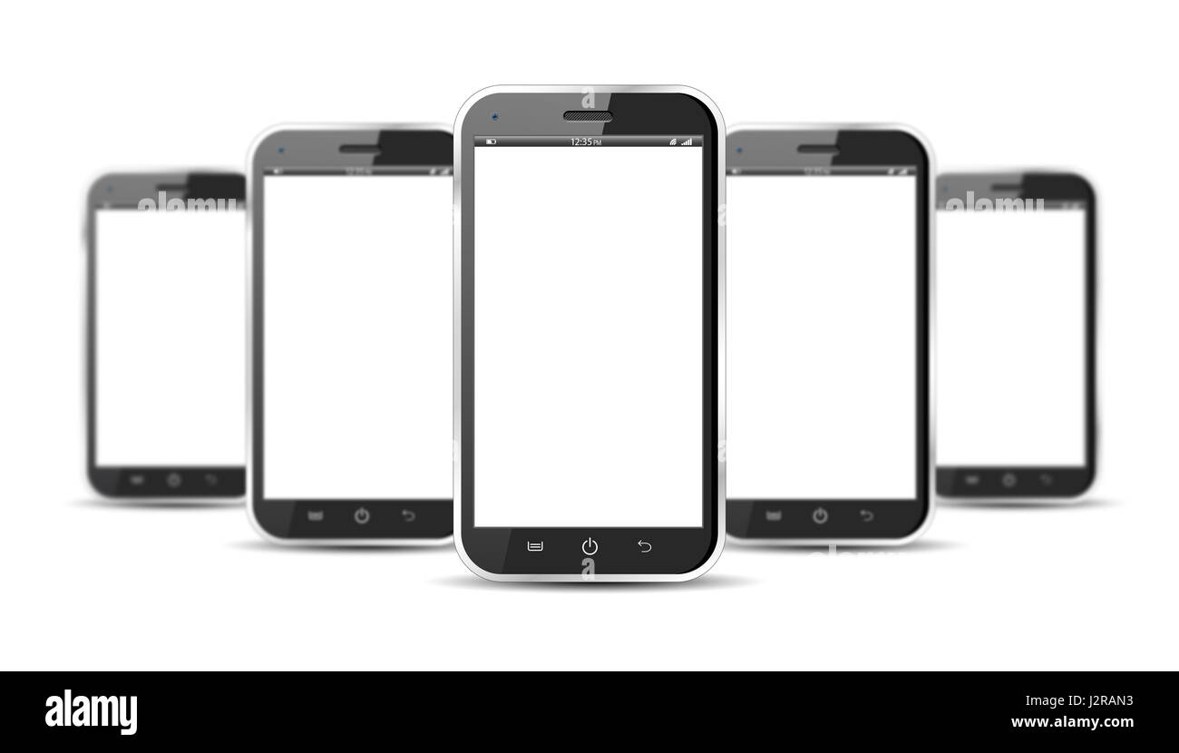 Set of five smartphones isolated on a white background - Stock Image