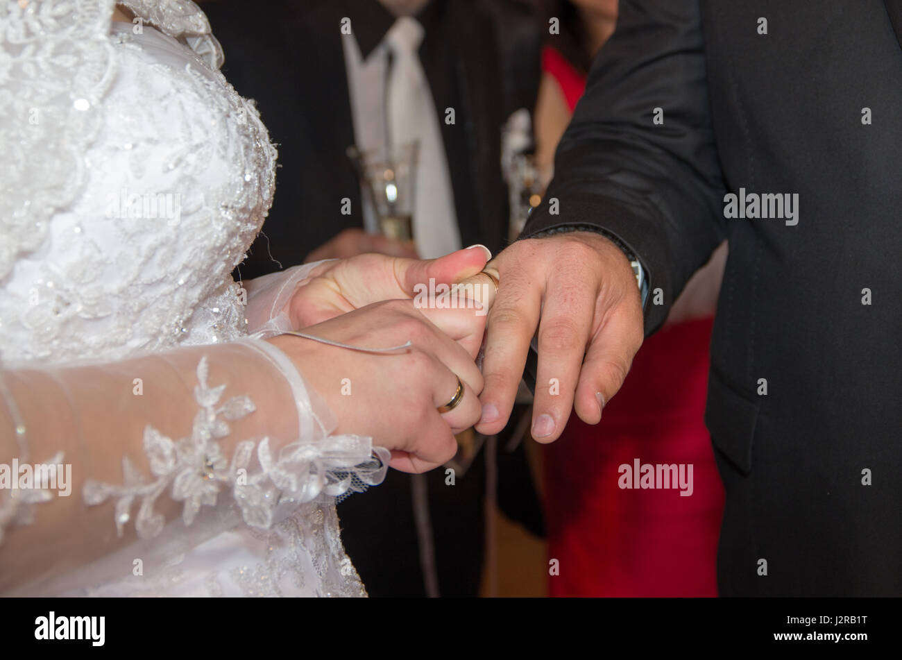 Newlyweds. Bride puts a wedding ring on groom. Hands of newlyweds and wedding rings. Commitment, happiness and love - Stock Image