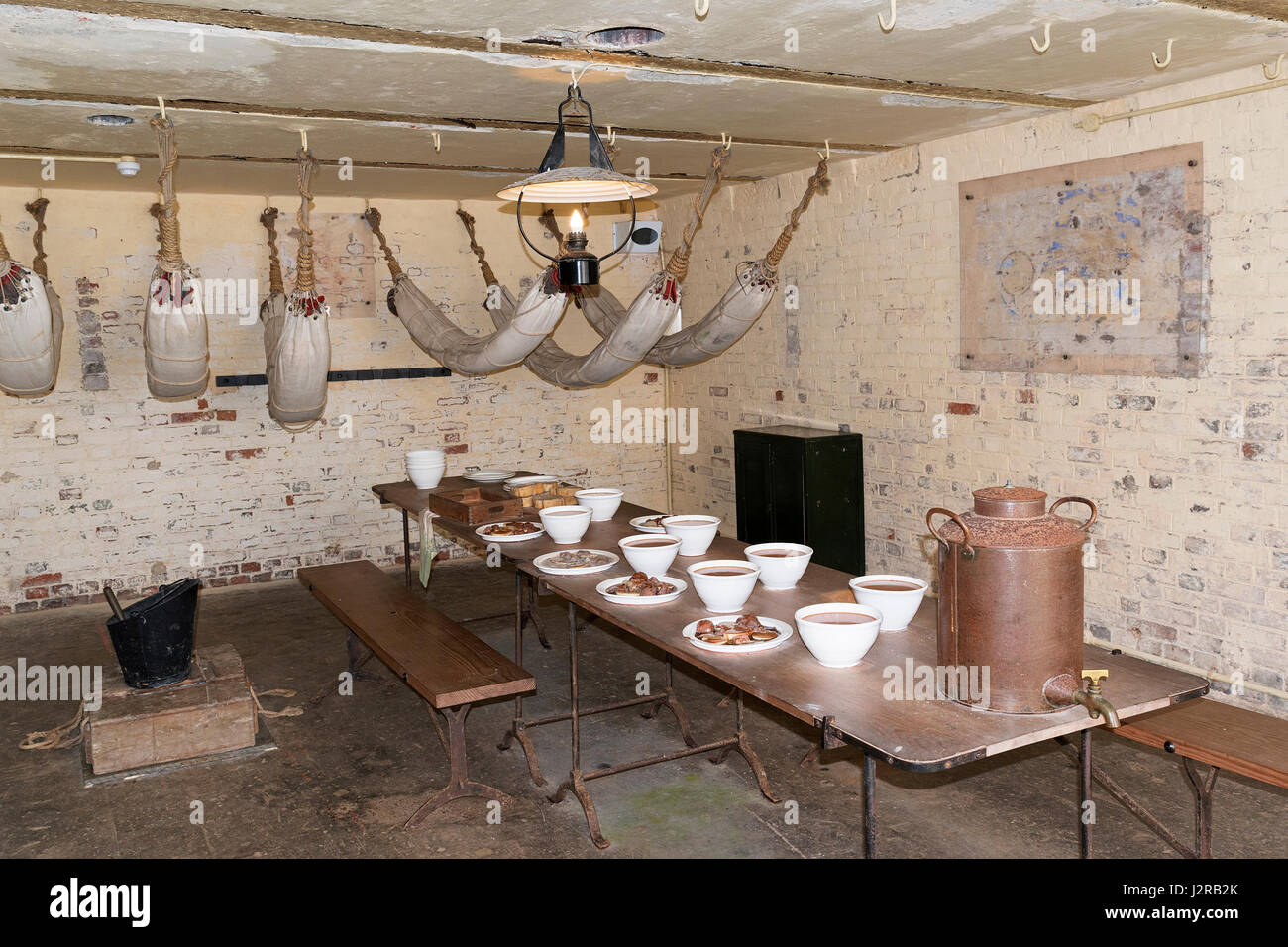 world war two barracks room at pendennis castle in falmouth, cornwall,england, uk. - Stock Image