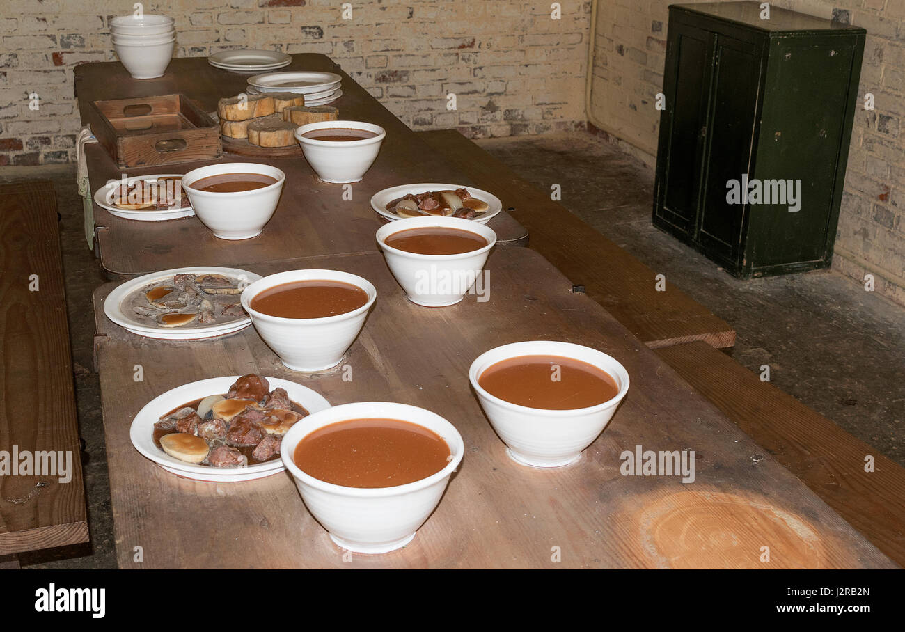 a musuem exhibit food in the canteen of the world war two military barracks at pendennis castle, falmouth, cornwall, - Stock Image